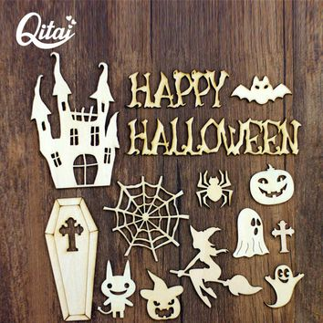 QITAI 35 Pcs/lot Halloween Wooden Emblishment Set Wood DIY Home Decoration Figurines & Miniatures Decorative Small Model Wf247