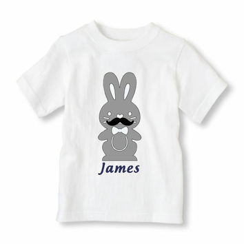Monogrammed Easter Bunny Shirt, Baby & Kids Easter Shirt Iron-On, Boy's Easter Shirt Iron-On, Personalized Easter Bunny Shirt