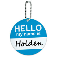 Holden Hello My Name Is Round ID Card Luggage Tag