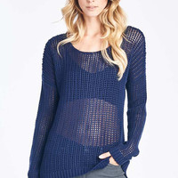 Navy Blue Long Sleeve Knit Sweater Top