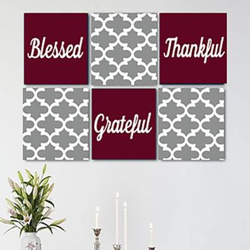Blessed Thankful Grateful Gray Wine/Burgundy White 6 Canvas Set