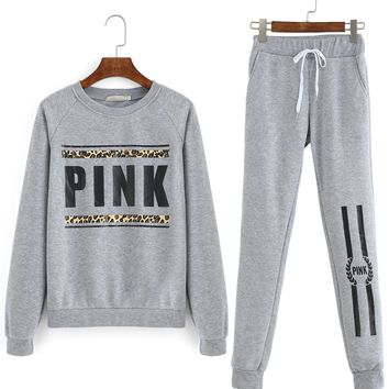 Grey Round Neck Letters Print Top With Pant