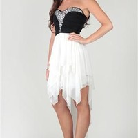 Strapless High Low Dress with Chunky Stone V-Neck