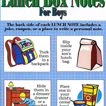 Handmade Lunch Box Notes for boys 8 tear-out pages of cards, humorous children paper goods, kids backpack tags encourage support son