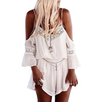 Summer Sexy Short Beach Chiffon Jumpsuit Women 2015 Off-Shoulder Hollow Out Casual Playsuit  Ladies Rompers Macacao Feminino