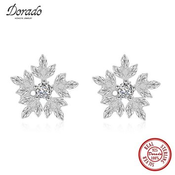 Dorado Simple Fashion Men Women 925 Sterling Silver Zirconia Maple Leaf Shape Stud Earring Gifts Hot Sale