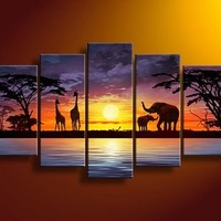 Sunset river giraffe elephant wall art on quality canvas painting of 5:Amazon:Arts, Crafts & Sewing
