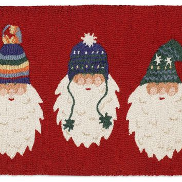 Santas with Knitted Hats 2' X 3' Hooked Wool Rug