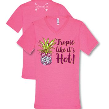 Southern Couture Lightheart Tropic Like Its Hot Pineapple V-Neck Triblend Front Print T-Shirt