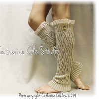 Lace legwarmers, SIMPLY ELEGANT, knit, lace, buttons, crochet, women, lacy, cuffs, Tan  | LW21