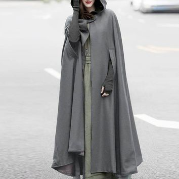 Trendy NEW ZANZEA 2018 Winter Women Casual Fashion Solid Hooded Open Front Long Jackets Retro Cloak Poncho Irregular Maxi Coat Cardigan AT_94_13