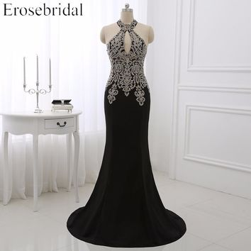 2018 Black Mermaid Evening Dress Plus Size Erosebridal Gold Appliques Bodice Formal Women Party Gowns Halter Dresses