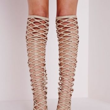 KNEE HIGH CROSS STRAP HEELED SANDAL CREAM