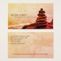 Red Stacked Rocks Mindfulness Meditation Teacher Business Card