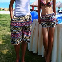 Vintage Mutilcolor Geometrical Print Quick Dry Beach Shorts 042202 DP B0616