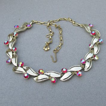 Signed STAR Vintage AB Red Rhinestone Gold Tone Modern LEAF Link Necklace, Adjustable