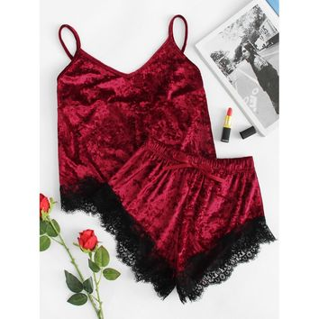 Contrast Eyelash Lace Crushed Velvet Cami PJ Set