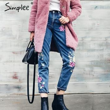 Simplee Flower embroidery jeans female High waist birds zipper straight denim pants jeans Women 2017 pocket blue trousers jeans