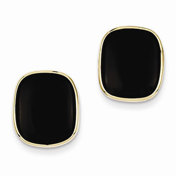14k Yellow Gold Polished Black Onyx Post Earrings