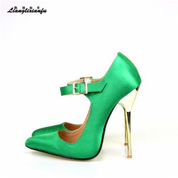 LLXF Plus:45 46 47 48 49 Stiletto Buckle RED Shoes Sexy 14cm Thin High Heels Sandals woman Pointed Toe Gold Bottoms Silk Pumps
