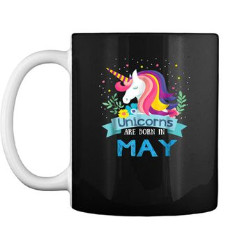 Unicorns are born in May Birthday Rainbow Gift Mug