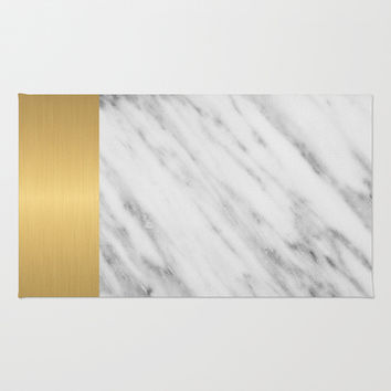 Carrara Italian Marble Holiday Gold Edition Area & Throw Rug by cafelab