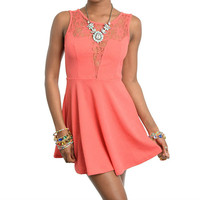 Lace Panel Skater Dress in Coral
