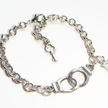 Partner In Crime Bracelet Friendship Jewelry Silver Handcuff J