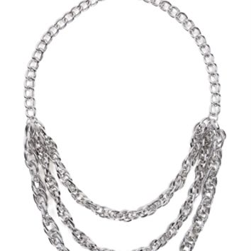 3 Row Chain Necklace with Etched Metal Design
