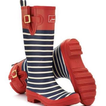 Red Stripe Welly print Womens Printed Rain Boot Wellies | Joules US
