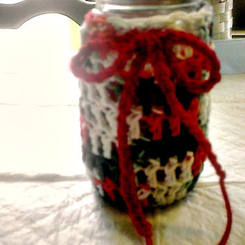 Christmas Cup Cozy Mason Jar Candle Cover Red Green White Jar Cozy Hand Crocheted Handmade