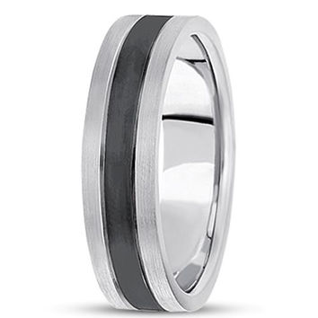 14K Gold Mens Fancy Black Rhodium Wedding Band (6.5mm)