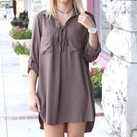Tied Up in the Moment Shirt Dress {Olive Grey}