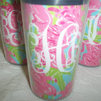 Cute Monogrammed Travel Cup with Lilly Pulitzer Fan by HomeLush