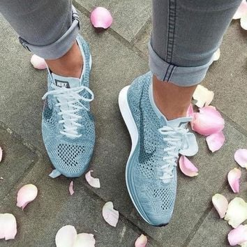 Nike Free Fly knit Fashion Women Men Rainbow Casual Running Sport Shoes Sneakers Blue