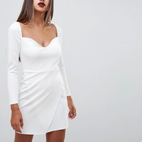ASOS DESIGN long sleeve sweetheart wrap mini dress at asos.com
