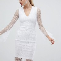 Vesper allover lace pencil dress with fluted sleeve in white at asos.com
