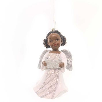 Holiday Ornaments AFRICAN AMERICAN ANGEL Silver Glittered Wings Black C8868 Book
