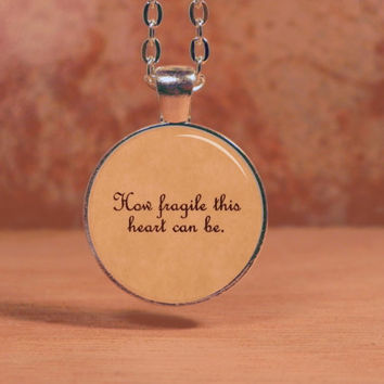"Sleeping with Sirens ""How fragile this heart can be"" Lyrics Song Poem Pendant Necklace Inspiration Jewelry"