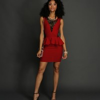 Sale-red Peplum Dress With Lace Inset