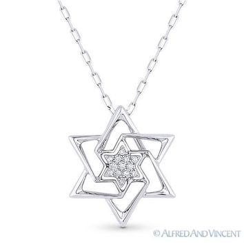 0.04 ct Diamond Star of David Magen Pendant Judaica Necklace in 14k White Gold