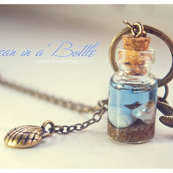 Ocean in a Bottle necklace. Vial necklace with Shells. mini Glass bottle necklace. shell Bottle Pendant. Sea bottle miniature