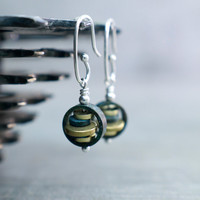 Patina Earrings, Yoga Jewelry, Petite Dangle, Industrial Zen, Sterling Silver, Chinese Lantern Stacking Circles Blue Verdigris Unusual Style