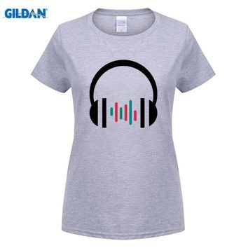 Women's Music Wave Printed Cotton O Neck T Shirt