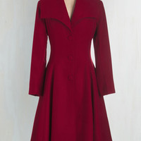 30s Long Long Sleeve Intrigue All About it Coat in Crimson by ModCloth