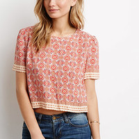 Boxy Medallion Print Top