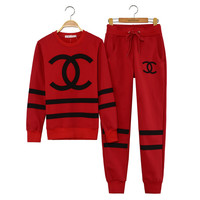 CHANEL RED TRACK SUIT