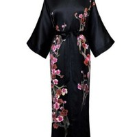 Old Shanghai Women's Silk Kimono Long Robe - Handpainted - Cherry Blossom Black