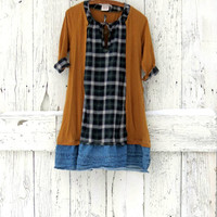 Indie Fashion Plaid Dress- brown and blue bohemian dress tunic- upcycled rustic plaid dress- eco fashion-