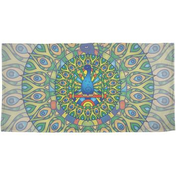 Mandala Trippy Stained Glass Peacock All Over Beach Towel